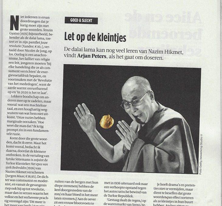 De Dalai Lama kan nog veel leren van Nazim Hikmet, gelooft Arjan Peters