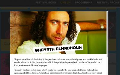 Ghayath Almadhoun to Amsterdam for Read My World festival 2020