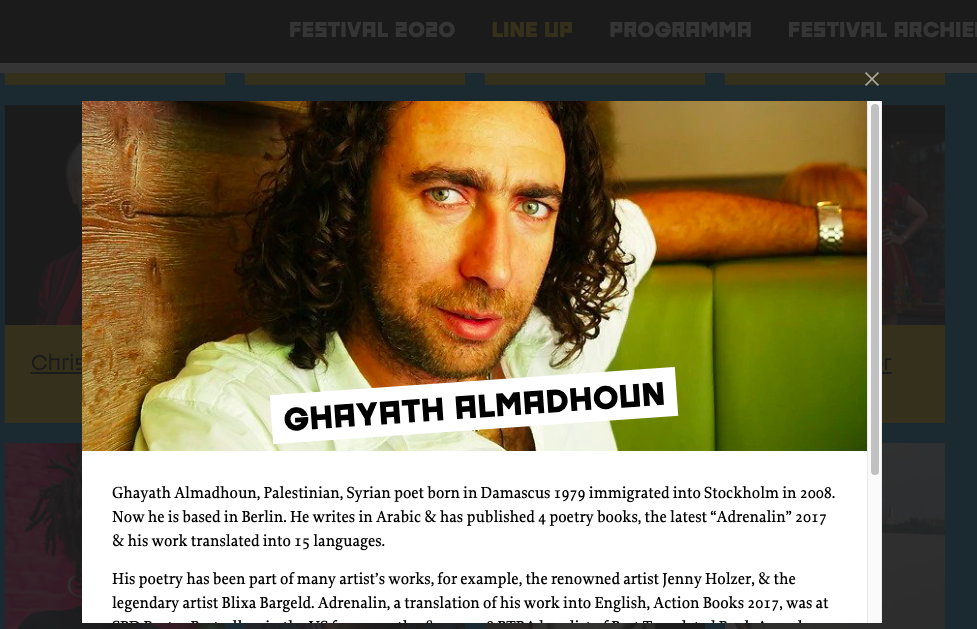 Ghayath Almadhoun to Amsterdam for Read My World festival 2020